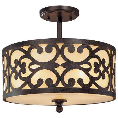 Nanti 3-Light Iron Oxide Semi-Flush Mount Light