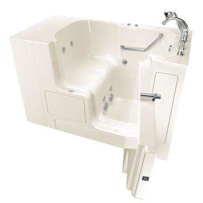 Gelcoat Value Series 52in. x 30in. Right Hand Touch Control Walk-In Whirlpool Bathtub with Outward Opening Door in Linen