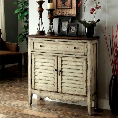 Hazen Louver Antique White and Brown Storage Cabinet