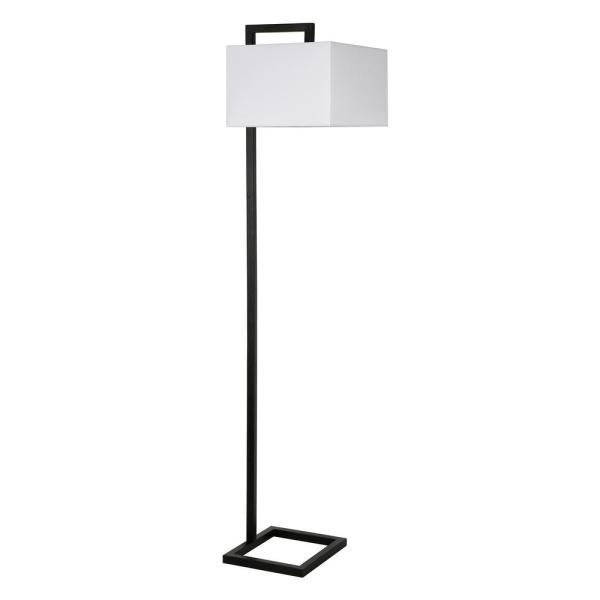 Grayson 68 in. Blackened Bronze Floor Lamp with Square Fabric Shade