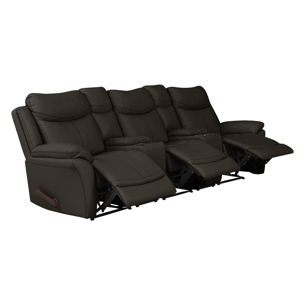 ProLounger Espresso Brown Tuff Stuff Fabric 3-Seat Recliner Sofa ...
