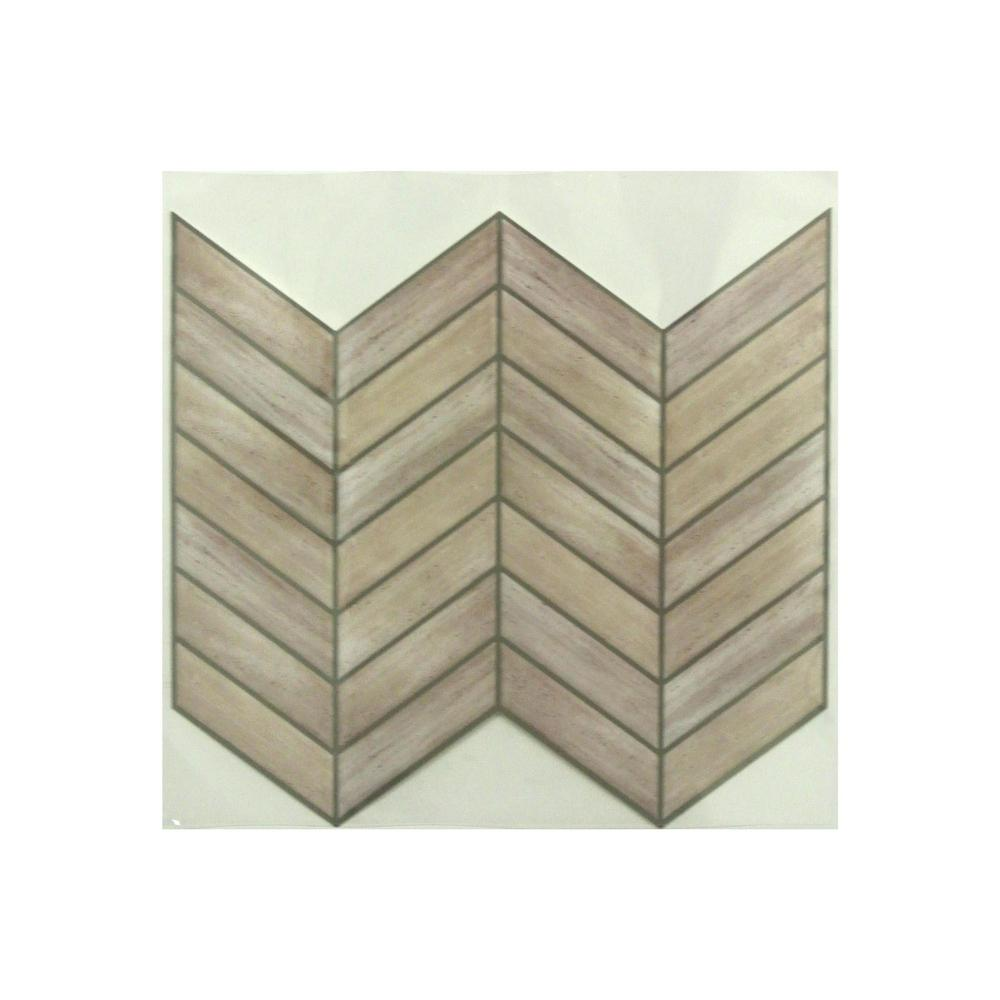 Sticktiles 105 In X 105 In Chevron Distressed Wood Peel And