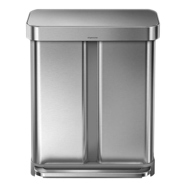 Simplehuman 58 Liter Nano Silver Clear Coat Brushed Stainless Steel Dual Compartment Rectangular Recycling Step On Trash Can Cw2025 The Home Depot