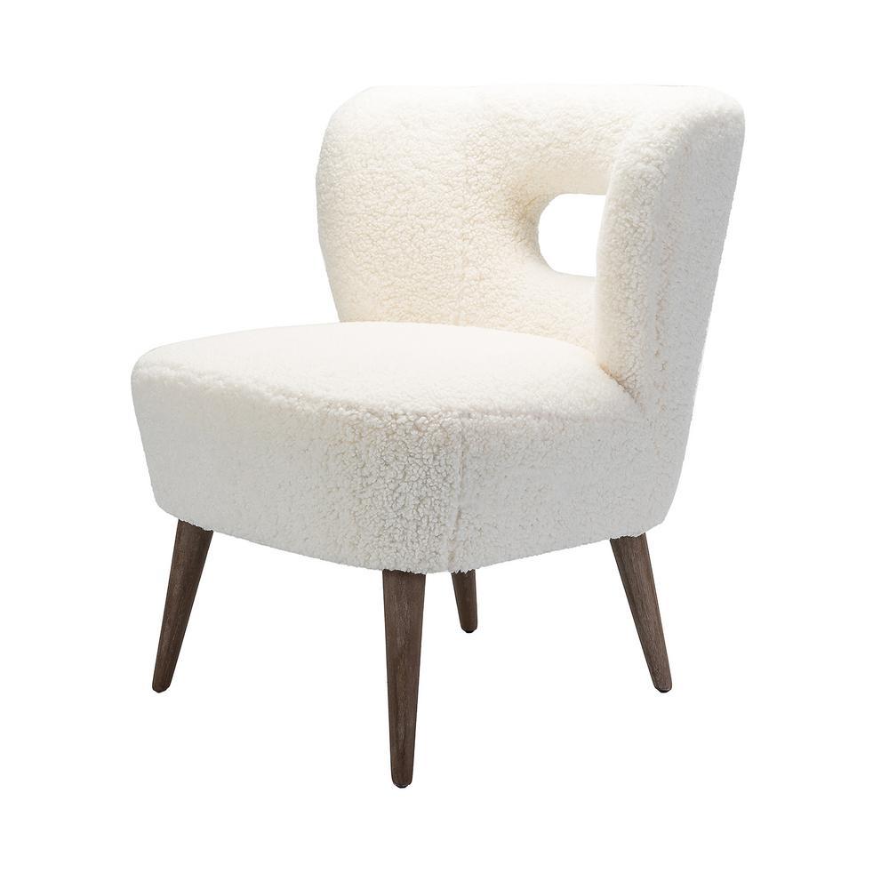 Mini Ivory Vegan Lambskin Sherpa Upholstery Barrel Chair