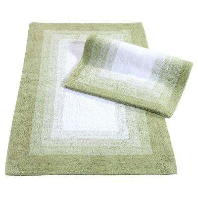 Whitney Ombre Reversible Nile Green 21 in. x 34 in. 2-Piece Bath Rug Set