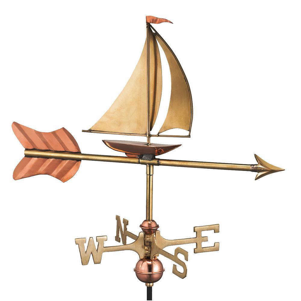 Sailboat Garden Weathervane - Pure Copper with Garden Pole