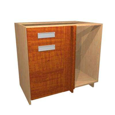 Genoa Ready to Assemble 36 x 34.5 x 24 in. Base Corner Cabinet with 1 Soft Close Door and 1 Soft Close Drawer in Cognac