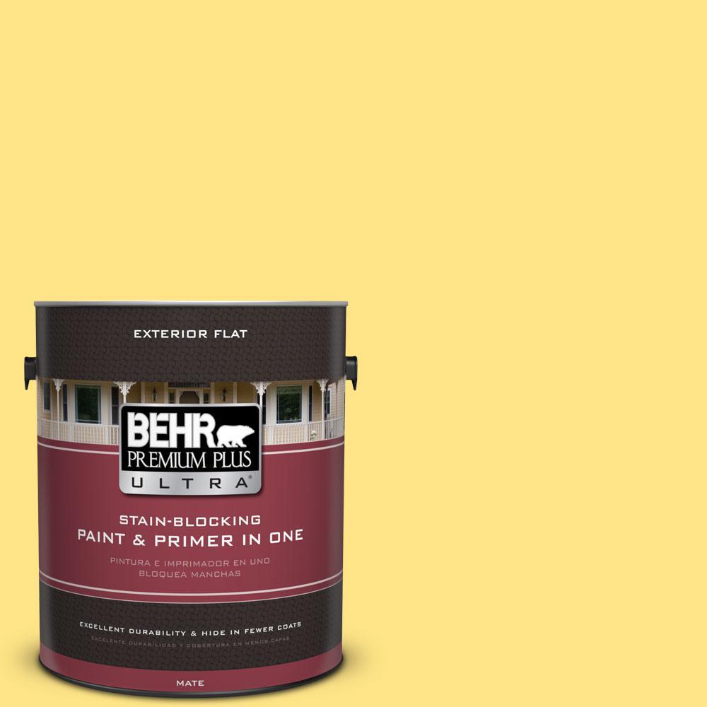 BEHR Premium Plus Ultra 1-gal. #380B-4 Daffodil Yellow Flat Exterior Paint