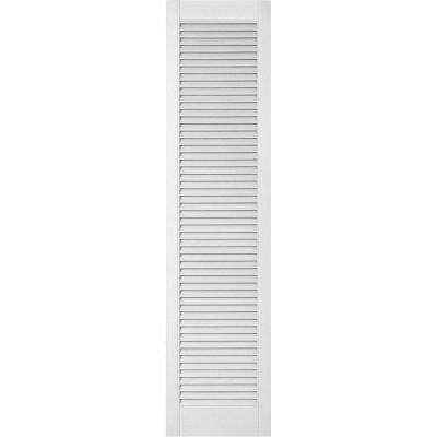 18 in. x 63 in. Lifetime Vinyl Custom Straight Top All Open Louvered Shutters Pair Bright White