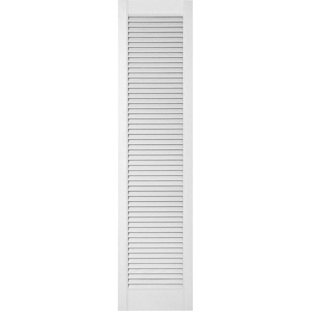 Ekena Millwork 18 in. x 91 in. Lifetime Vinyl Custom Straight Top All Louvered Open Louvered Shutters Pair Bright White