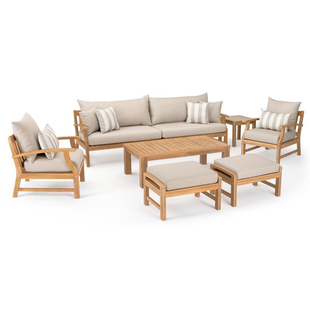 Kooper 8-Piece Wood Patio Conversation Set with Slate Grey Cushions