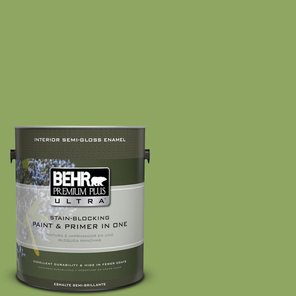 BEHR Premium Plus Ultra 1-gal. #PPU10-4 New Bamboo Semi-Gloss Enamel Interior Paint