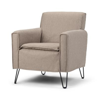 Simpli Home Warren 28 in. Wide Taupe Woven Fabric Mid Century Modern Accent Chair, Brown