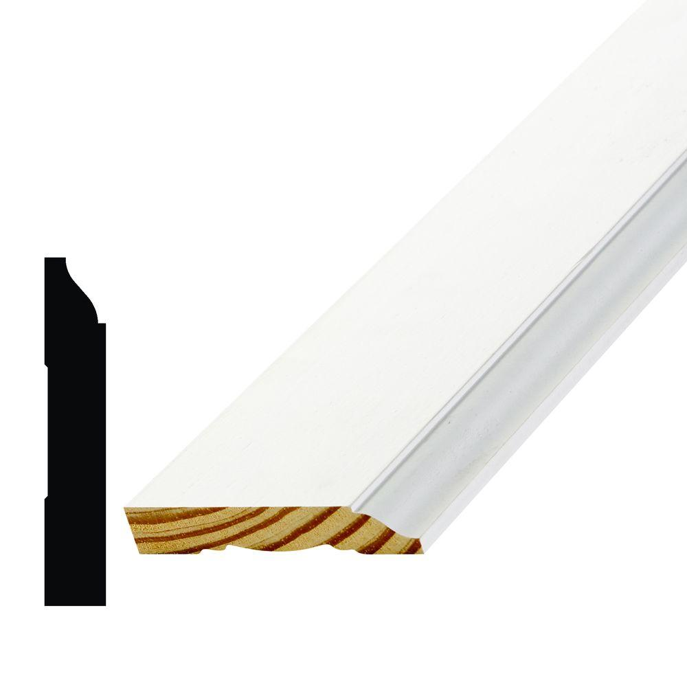AlexDirect WM 623 9/16 in. x 3-1/4 in. Primed Finger Jointed Pine Base Moulding