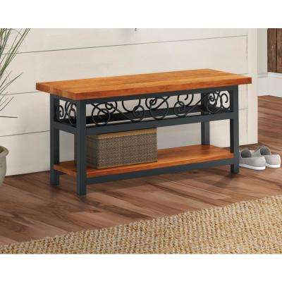 Artesian Brown Scrollwork Bench with Chestnut Finish