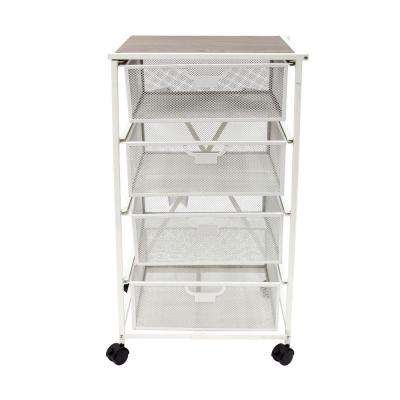 Origami 4 Drawer Storage Cart In White