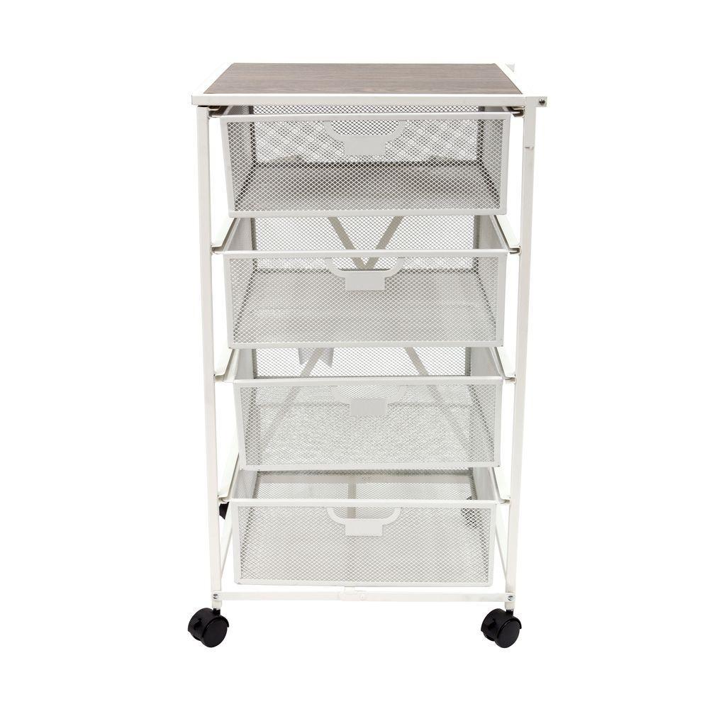 4 Drawer Kitchen Cart in White
