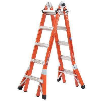 22 ft. Reach Height Multi-Purpose Fiberglass PRO Ladder with 300 lbs. Load Capacity Type IA