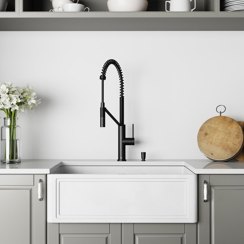 VIGO All-in-One Farmhouse/Apron-Front Matte Stone 30 in. Single Bowl  Kitchen Sink with Faucet in Matte Black