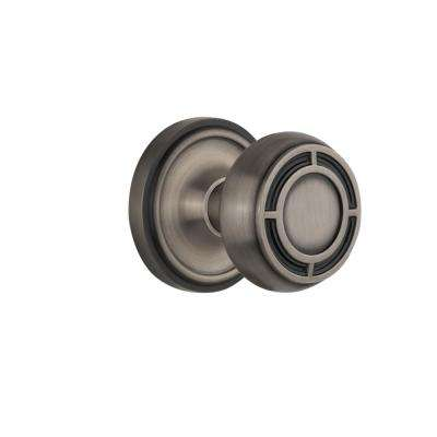 Classic Rosette 2-3/8 in. Backset Antique Pewter Privacy Mission Door Knob