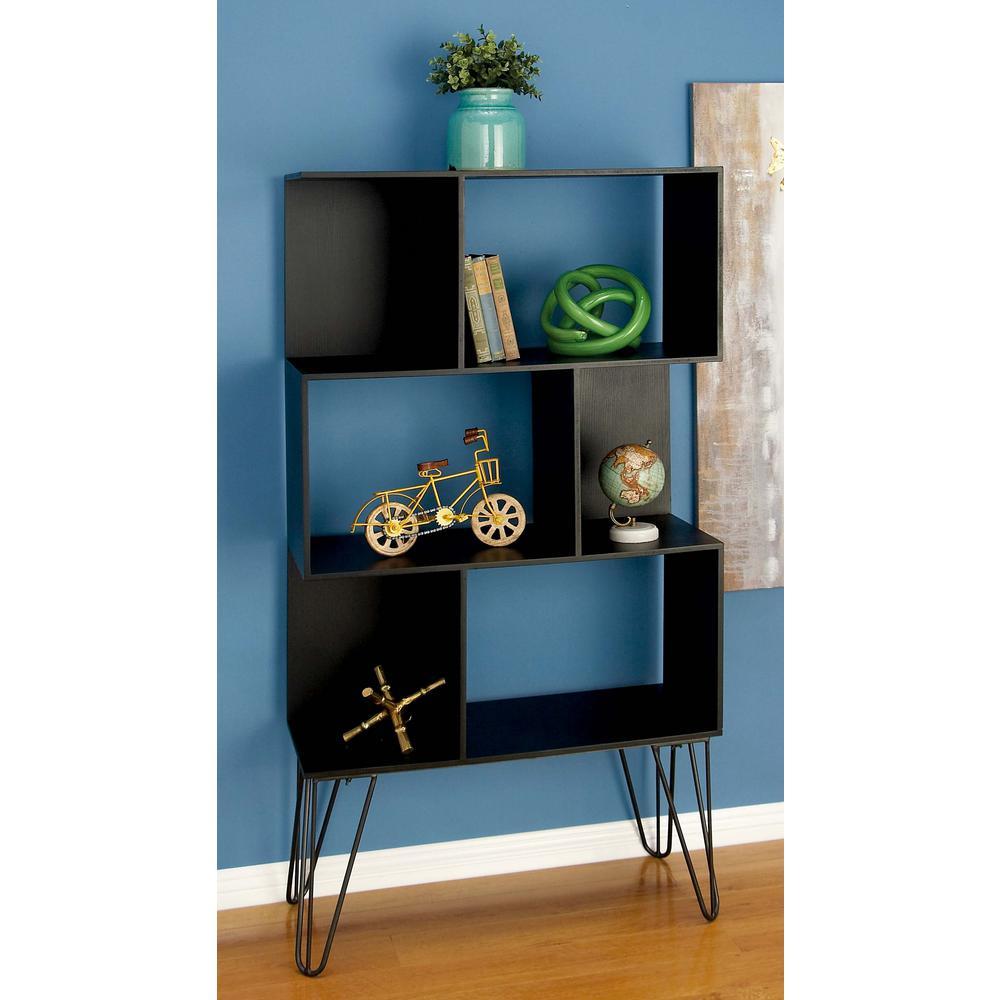 61 in. x 32 in Modern Cube-Type Wooden Shelf in Black