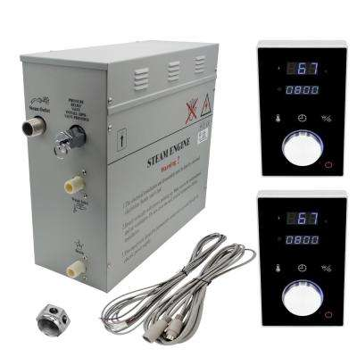 Superior 9kW Deluxe Self-Draining Steam Bath Generator 2 Digital Programmable Controls in Black and Chrome Steam Outlet