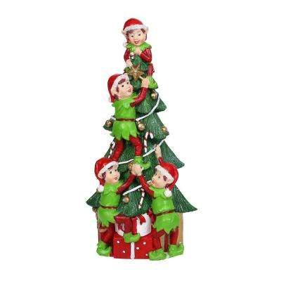Alpine Corporation Christmas Tree and Stacked Elves Statue with LED Light, Indoor Festive Holiday Decor for Home