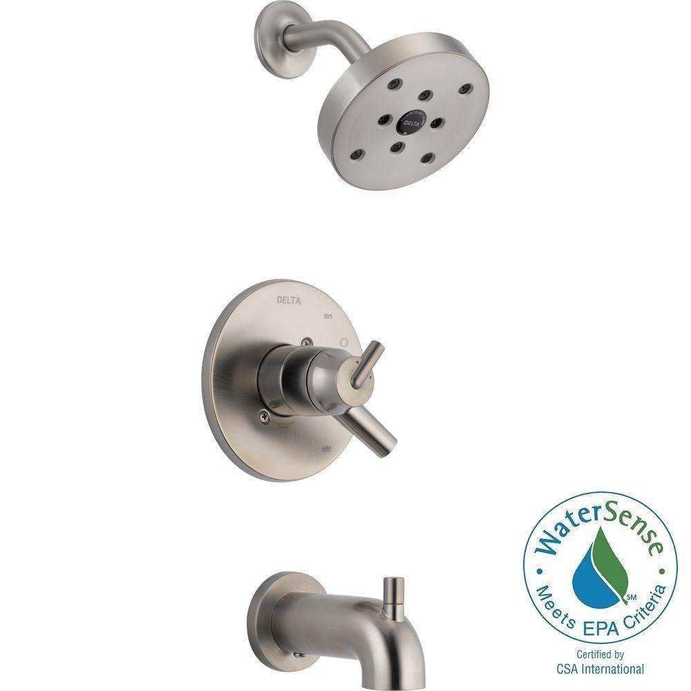 Delta Trinsic 1 Handle Wall Mount Tub And Shower Faucet Trim Kit In Stainless With H2okinetic Valve Not Included