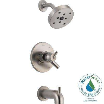 Trinsic 1-Handle Wall Mount Tub and Shower Faucet Trim Kit in Stainless with H2Okinetic (Valve Not Included)