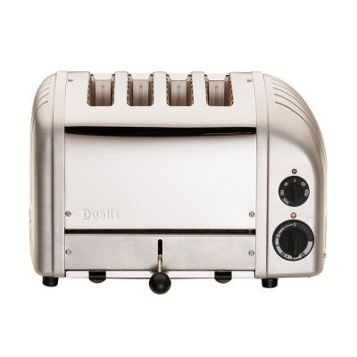 New Gen 4-Slice Metallic Silver Wide Slot Toaster with Crumb Tray
