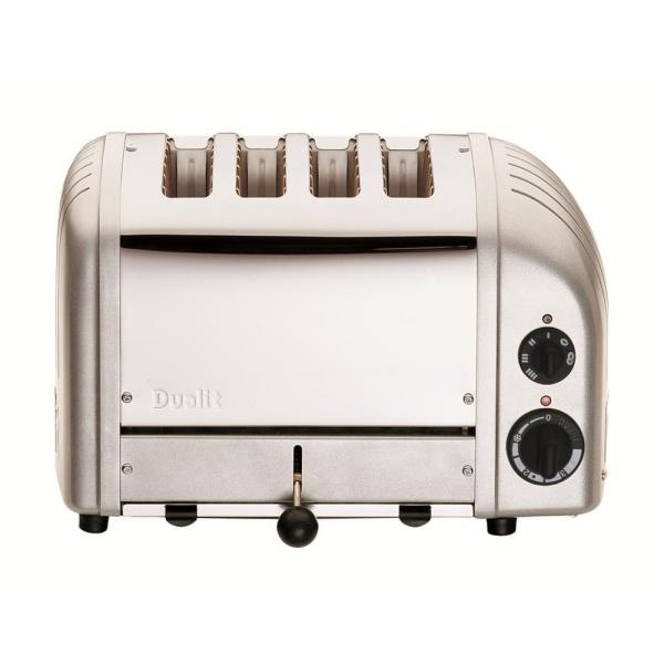 Dualit New Gen 4-Slice Metallic Silver Wide Slot Toaster with Crumb