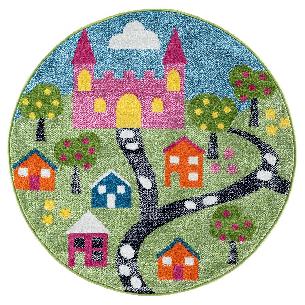 LR Resources Whimsical Fairytale 5 ft. Round Indoor Area Rug