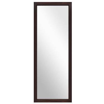 Modern Brown Frame 44 in. x 16 in. Classic Rectangle Full Length On the Door Mirror / Wall Mirror
