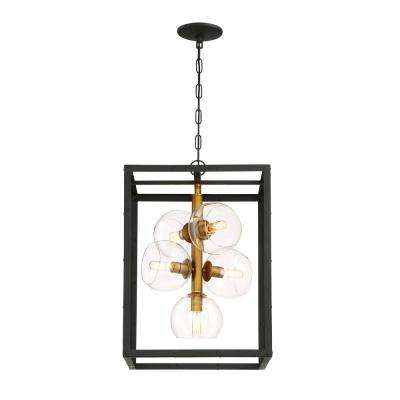 Minimalist chandeliers lighting the home depot bentley collection 5 light black and gold chandelier with glass shade aloadofball Image collections