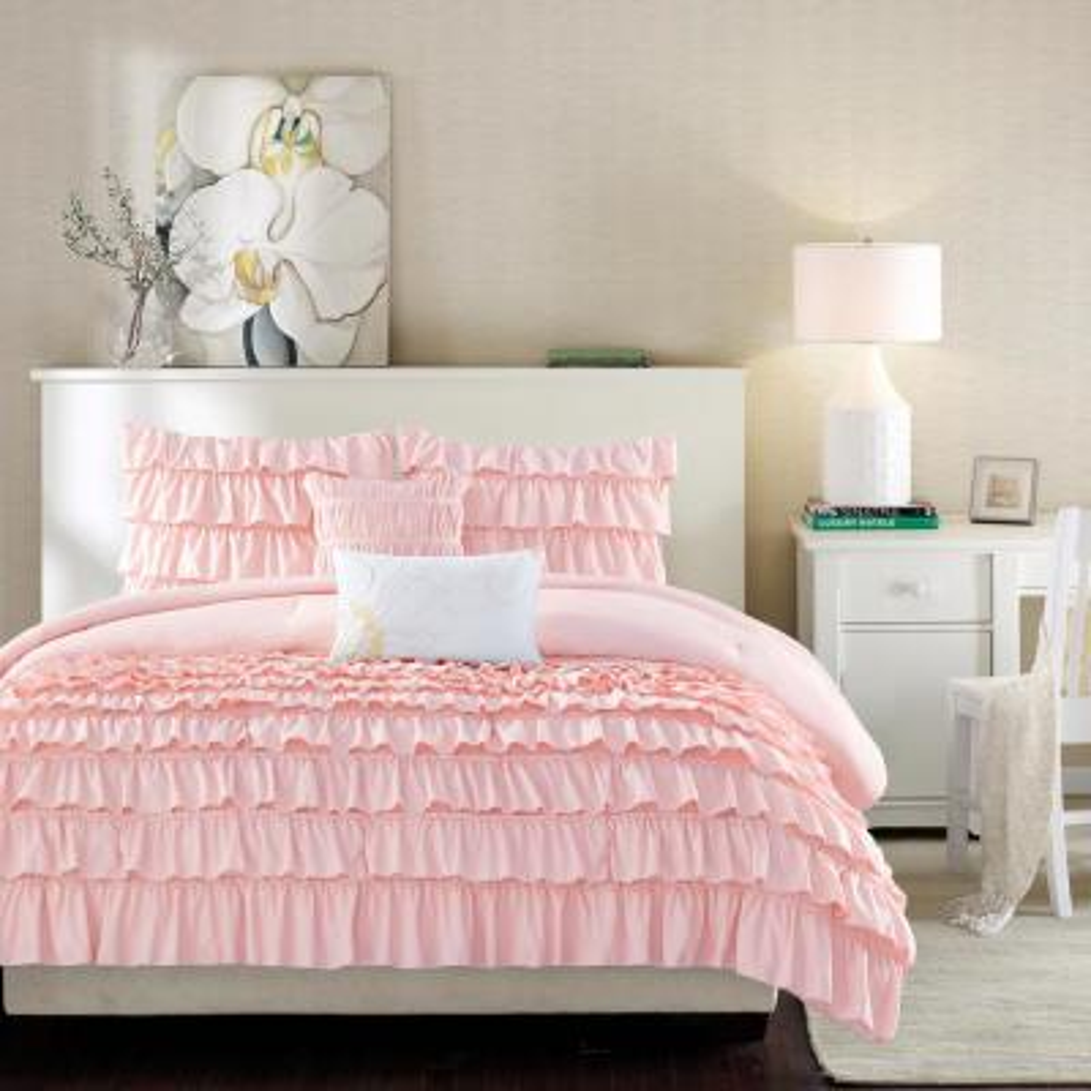 Demi 5-Piece Blush Full/Queen Comforter Set