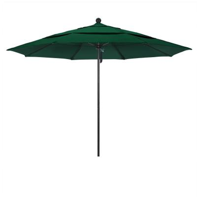 11 ft. Stone Black Aluminum Market Patio Umbrella with Pulley Lift and Fiberglass Ribs in Forest Green Sunbrella