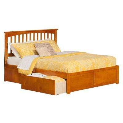 Mission Caramel Queen Platform Bed with Flat Panel Foot Board and 2-Urban Bed Drawers
