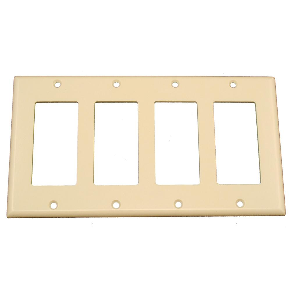 Leviton 4-Gang Decora Rocker Switch Wall Plate, Light