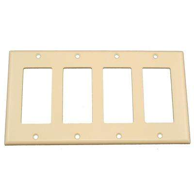 4-Gang Decora Rocker Switch Wall Plate, Light Almond
