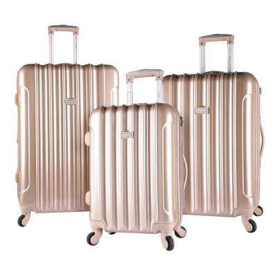 3-Piece Pale Gold Hardside Vertical Luggage Set with Spinner Wheels