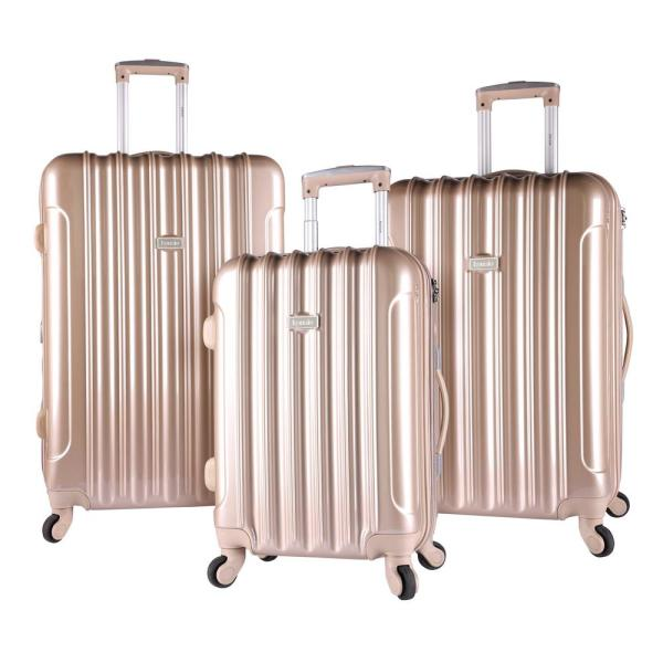 Kensie 3-Piece Pale Gold Hardside Vertical Luggage Set with Spinner Wheels