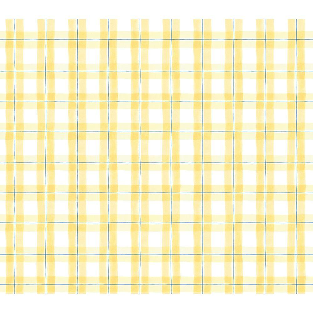 The Wallpaper Company 56 sq. ft. Yellow Thoughtful Plaid Wallpaper