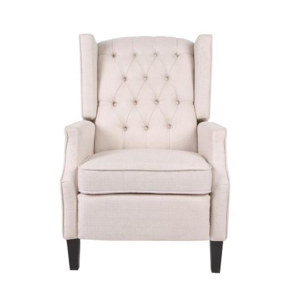 Noble House Keating Traditional Tufted Back Light Beige Tweed Fabric Wingback