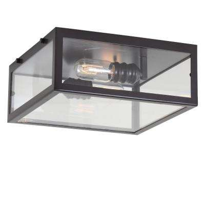 Grayson 12 in. Oil Rubbed Bronze/Clear Metal/Glass LED Flush Mount