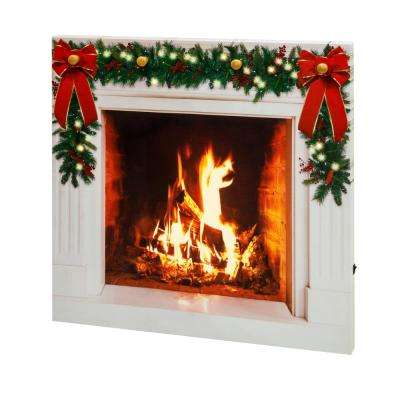 28 in. Holiday IlluminArt Fireplace Canvas with Faux Fire