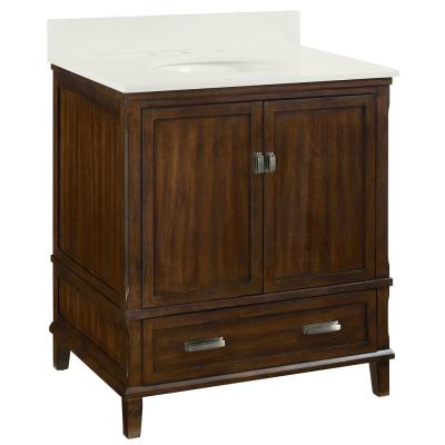Irving 30in W Bath Vanity in Dark Walnut with Soft White Engineered Stone Vanity Top with Pre-Installed Porcelain Basin