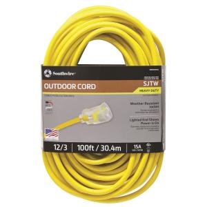 Southwire 100 ft. 12/3 SJTW Hi-Visibility Outdoor Heavy-Duty Extension Cord with... by Southwire