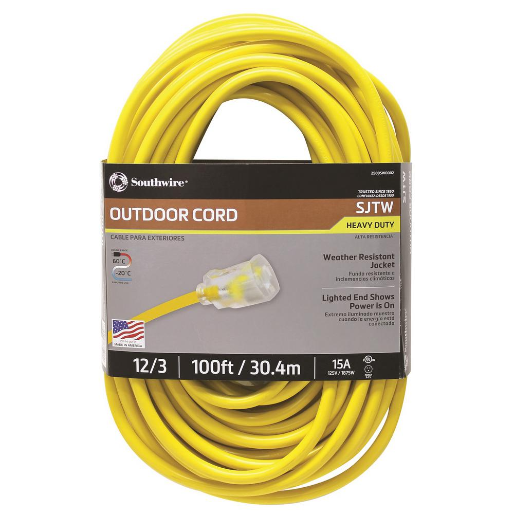 Heavy-Duty Extension Cord 100 ft 12//3 SJTW Hi-Visibility Electric Cable