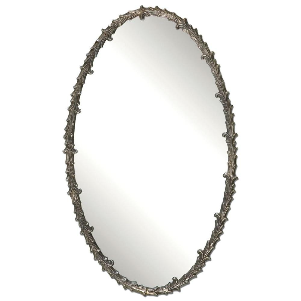 Global Direct 34 in. x 20.5 in. Silver Leaf Oval Framed Mirror