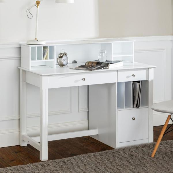 Walker Edison Furniture Company 48 In White Rectangular 3 Drawer Writing Desk With Keyboard Tray Dw48d30 Dhwh The Home Depot